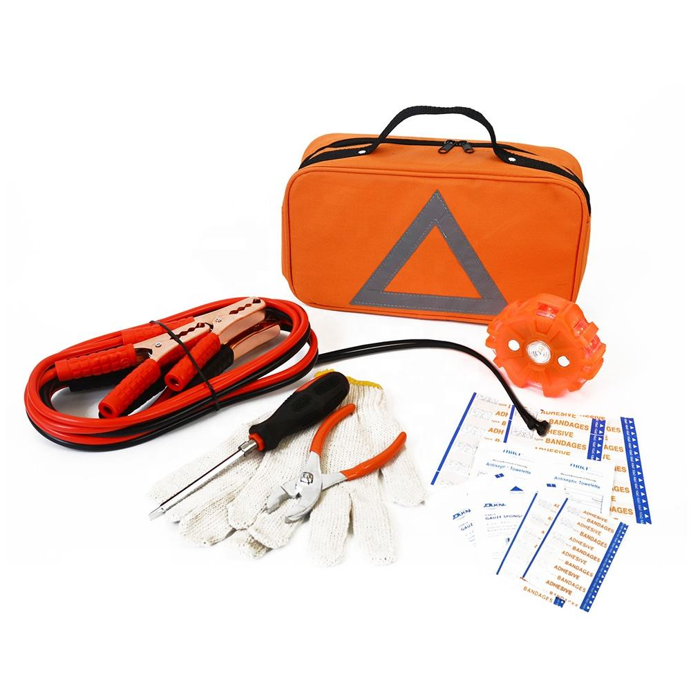 Roadside Assistance Kit Auto Road Safety Repaire Tool Bag Portable Roadside Car Emergency Kit with Jumper Cable