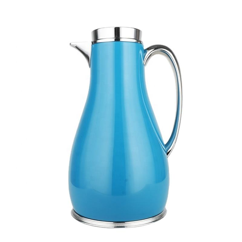 Reusable Using Classical design Vase Shape Germany style Push button Navy Blue color 1.0L Glass Vacuum Jug