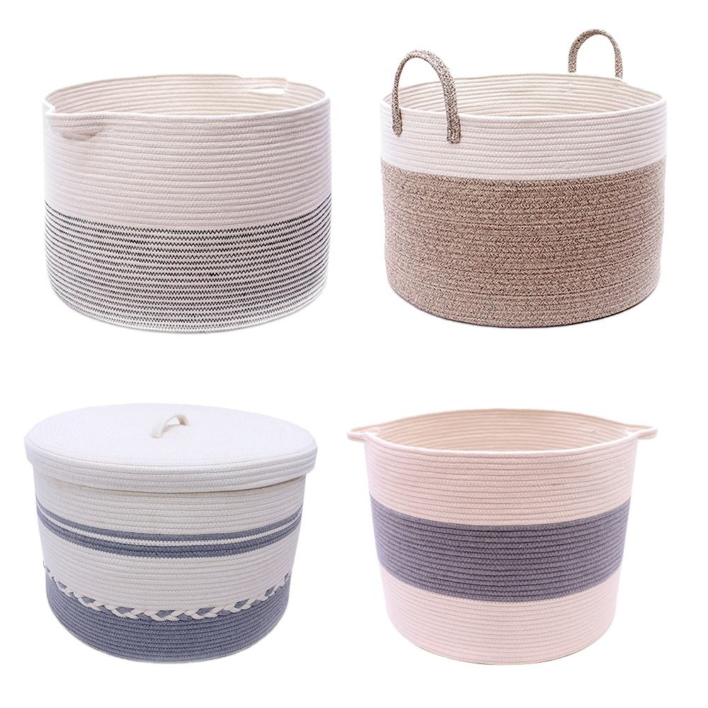 2018 customized striped cotton rope storage gift baby fabric laundry baskets kitchen baskets with leather handles