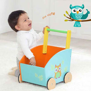 High quality wooden storage baby collection toy owl cart box toy cars baby learning modern walker toddler toy
