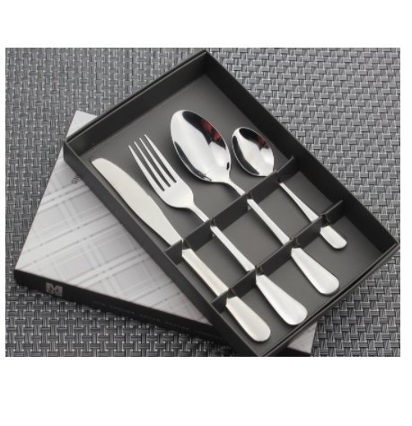 new style Hot sale promotional high-grade use stainless steel cutlery 24pcs set with window colored box