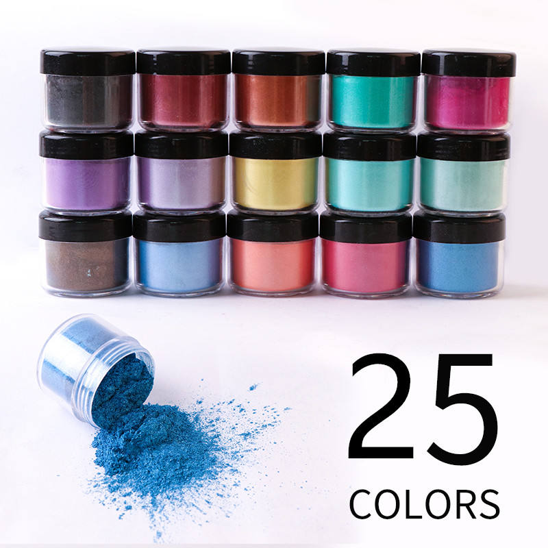 Jingxin Hot Selling 25 Colors Mica Pigment Powder Jar Set for DIY Soap Making and Epoxy Resin
