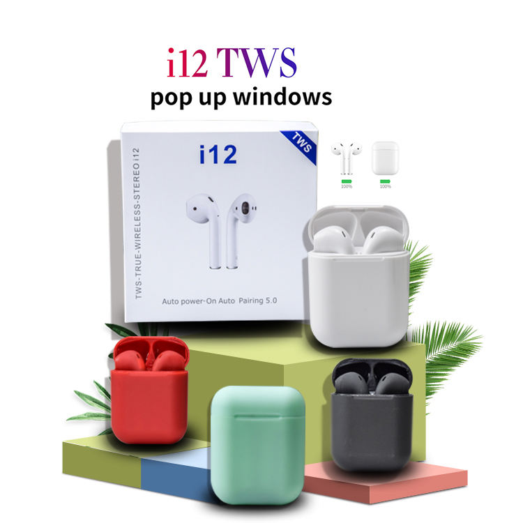 2019 Updated i12 Popup Window Touch BT 5.0 Mini Tws Ture Wireless Bass Bluetooth Earbud Earphone