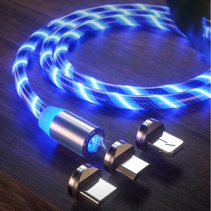 Wholesale Magnetic Fast Charging USB Cable Flowing Light Phone Accessories Cable USB Led Luminous Micro Lighting Data Cables