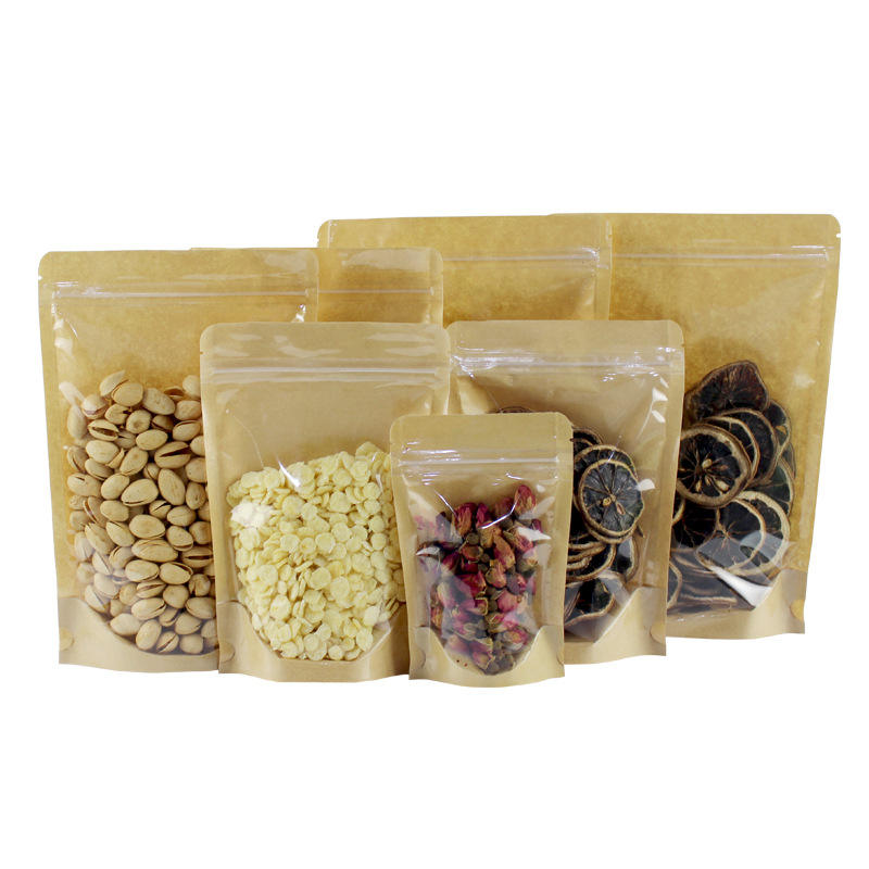 Front transparent back kraft stand up pouch for food rice nuts flour with zipper Manufacturer