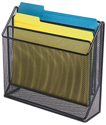 Office 3 Tiers Black File Folder Organizer Mesh Modern Desk Sorter Organizer