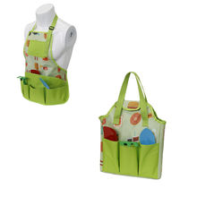 New Two Pieces Role Play Cute Fresh Color Mini Multi- Function Washable Dress Up Kids Garden Tool Bag Set with Apron and Bag