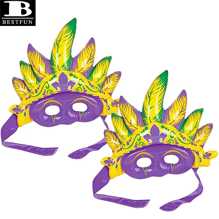 eco-friendly vinyl inflatable Mardi Gras mask plastic blow up fancy dress party decoration for Carnivals And Dress-Up
