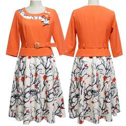 Chinese Washing Printing Orange Jacket Two Piece Suit Jackets And White Flower MIni Skirts With Belt