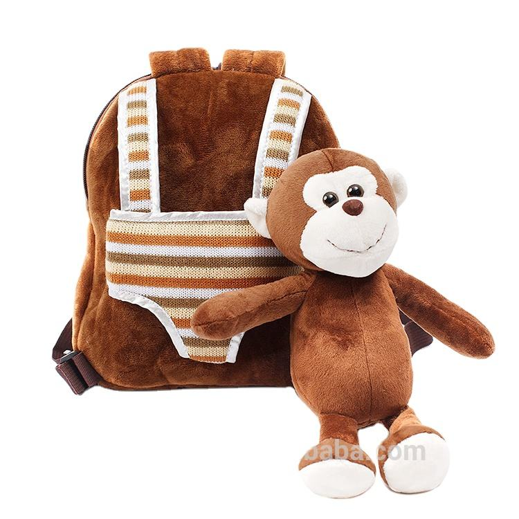 New style 2 in 1 Kids Plush monkey Rolling Suitcase , Backpack with Stuffed Animal Brown Monkey for sale