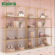 Custom retail store decoration metal shoe bag rack stainless steel gold shoes and bags display
