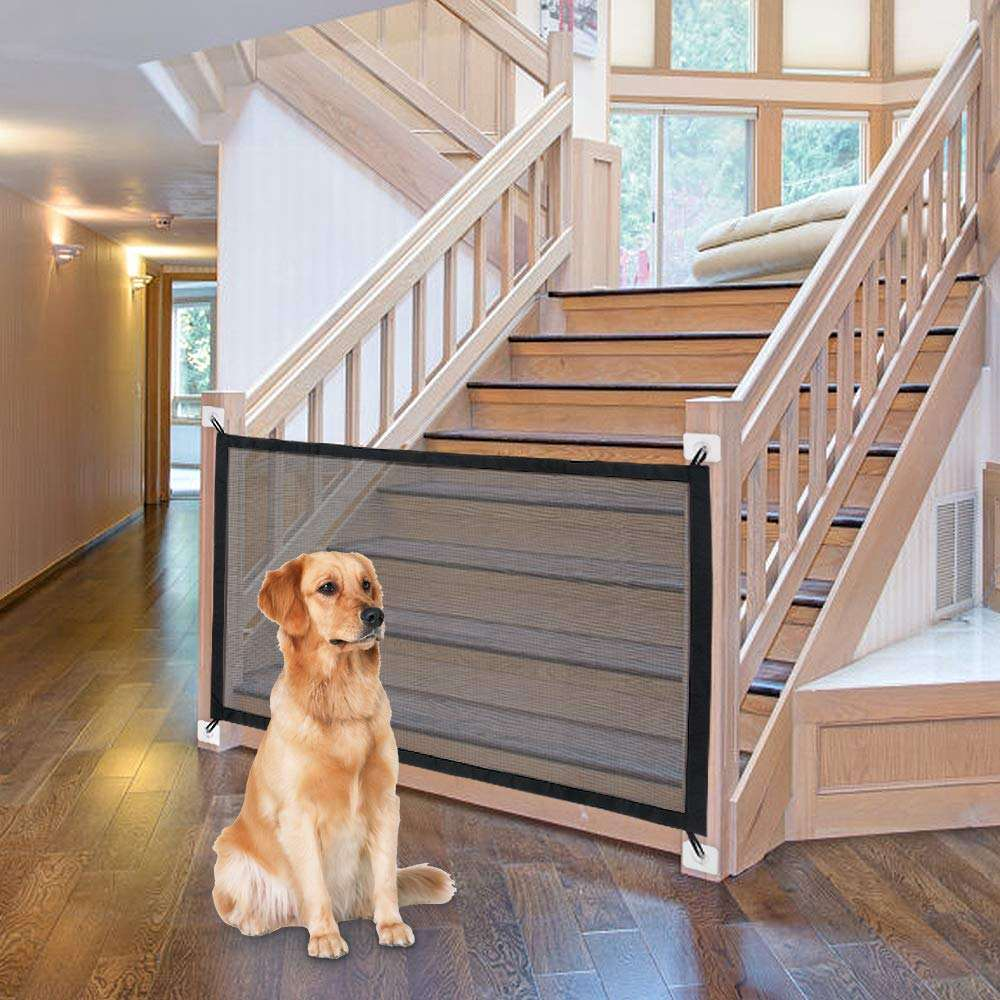 Trussu Indoor Portable Folding Magic Mesh Safety Fence Pet Dog Gate