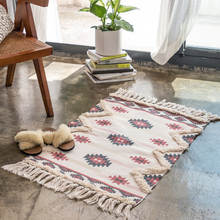 Home Decor Artistic Design Doormat Cotton Custom Printed Tufted Floor Mat Hand Knotted Indian Throw Rugs With Tassels