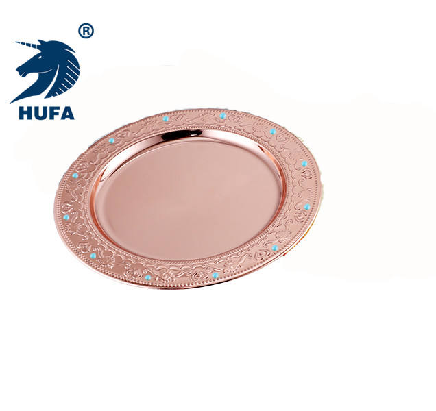 OEM 13.8 inch decorative dinnerware set metal plate beaded charger dish round stainless steel plate