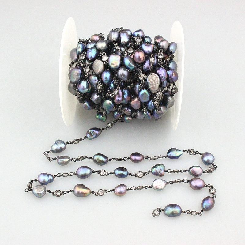 CH-CCB0046 New design rosary chain, fashion irregular pearl bead component, 5m per roll rosary chain jewelry wholesale