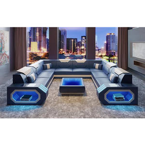 luxury sofa set 7 seater sectional sofa u shape adjustable headrest TV room sofa