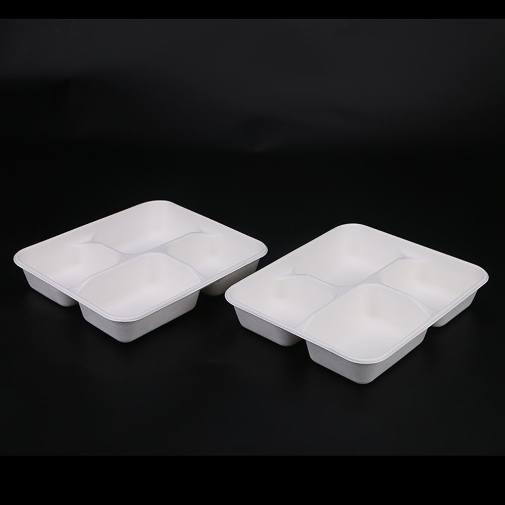 Ecology Bagasse Material 1000ML Biodegradable Food Box With Paper Pulp Lids