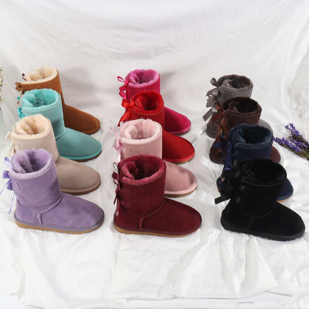 New arrival beautiful women and girls snow lady boot with silk ribbons