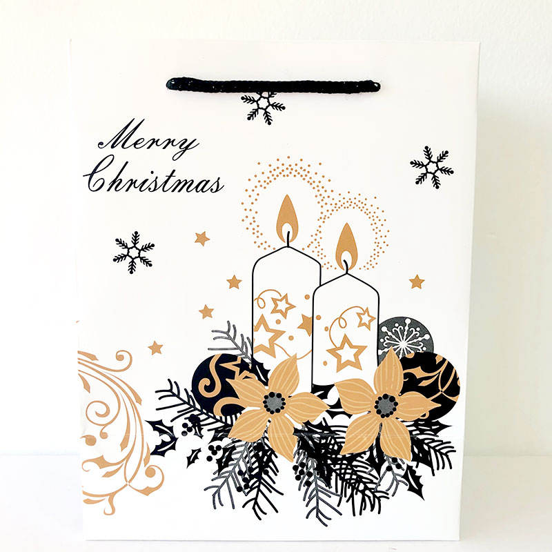 Hot selling products party usefully candle design shopping bag christmas paper shopping bag