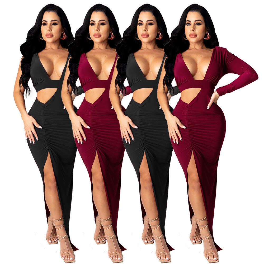 2021 Women Clothes Women's Sexy Deep v Open Waist Split Pleated One-Piece Dresses Women Ladies Sexy