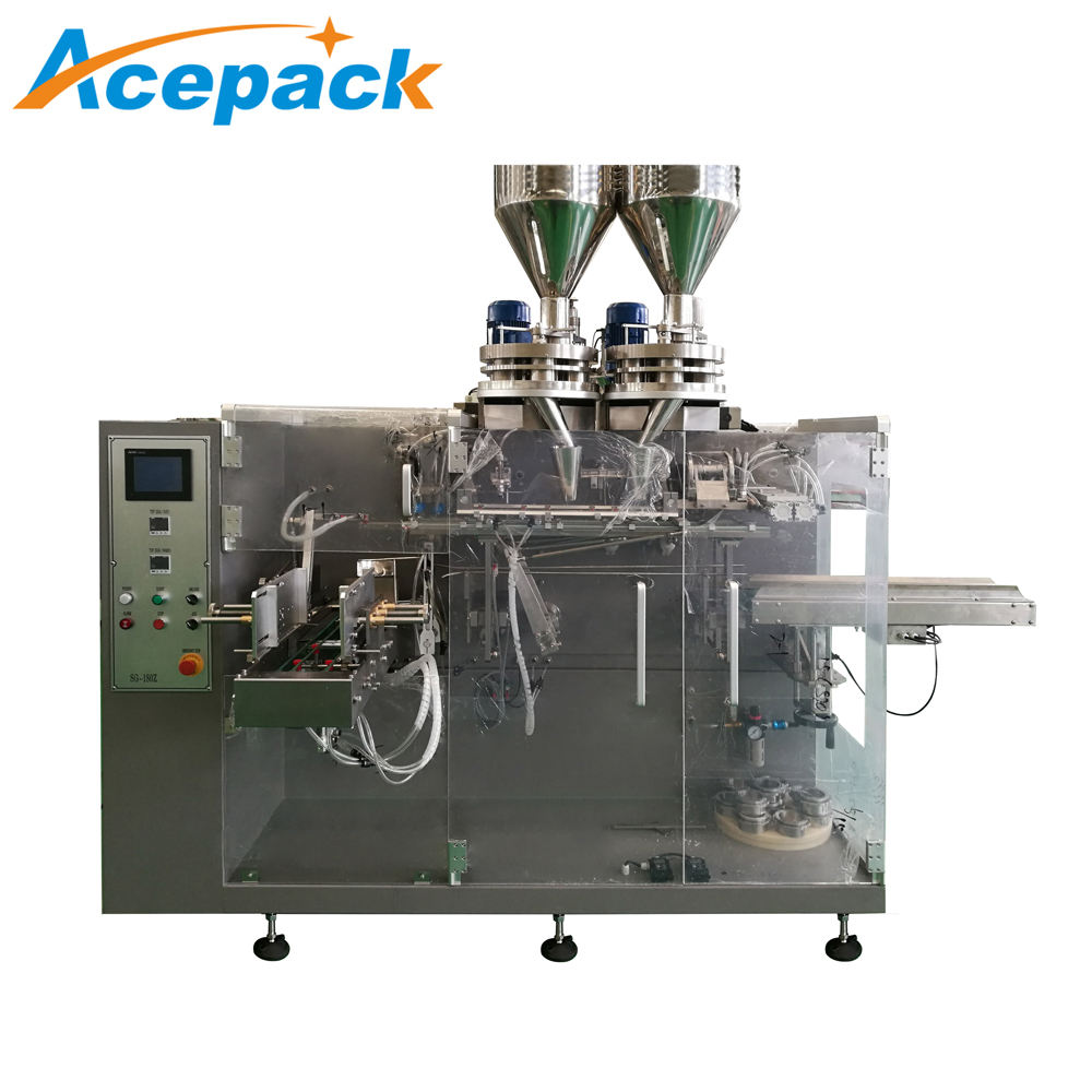 auto dry yeast powder zipper function flat pouch horizontal packing machine with filling station