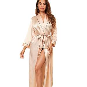 High Quality Luxury Long Sleeve Solid Robe Bridal Robe Belted Wrap Women Satin Silk Robes