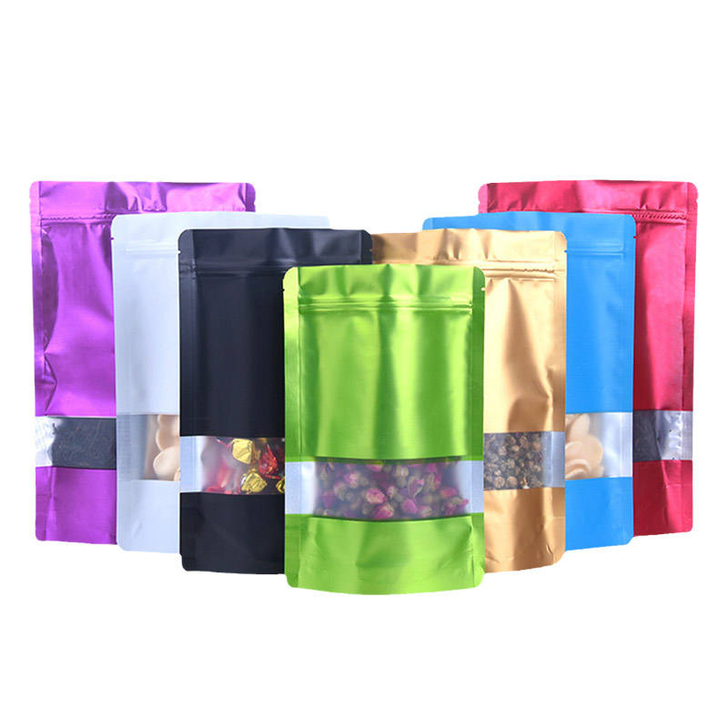 In Stock Multicolor Food Zip Lock Plastic Zipper Packaging Ziplock Aluminum Foil Stand Up Pouch Bag With Window