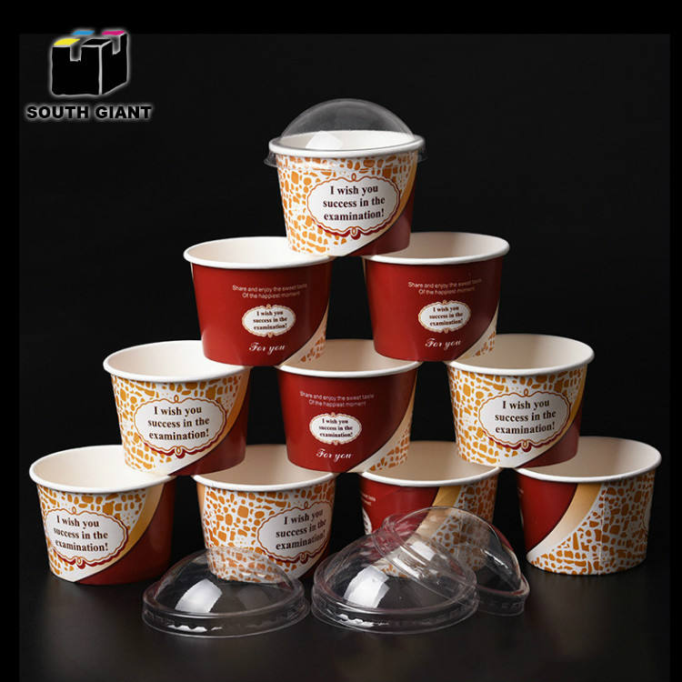 Custom LOGO Printed Single Wall Cheap Disposable Sorbet Ice Cream Yogurt Paper Cups With Dome Flat Lid Cups