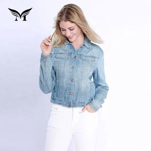 Personalized customization spring wear button up turn-down collar ladies denim jackets and coats online