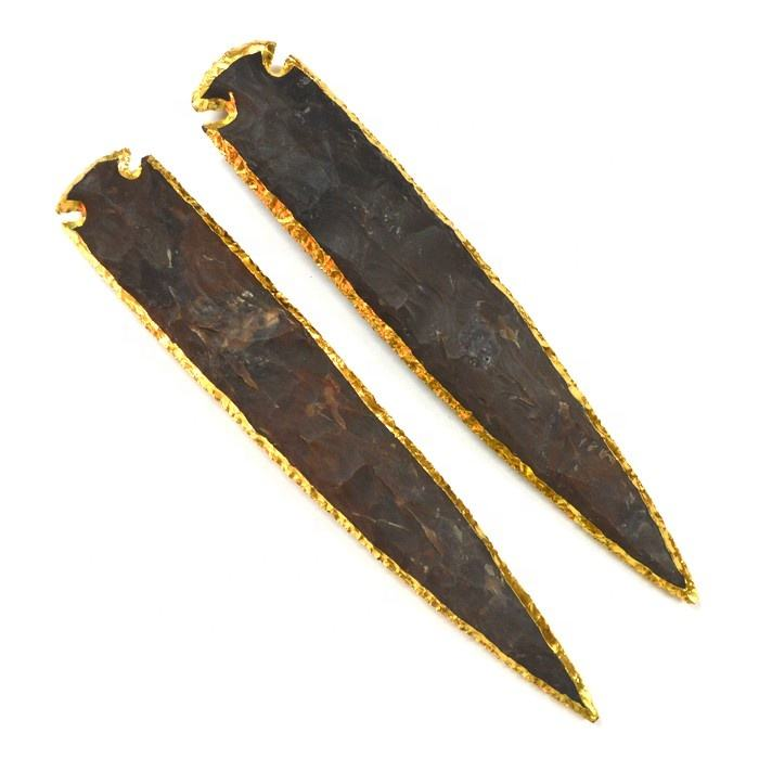Agate 10 Inch Gold Electroplated Arrowheads