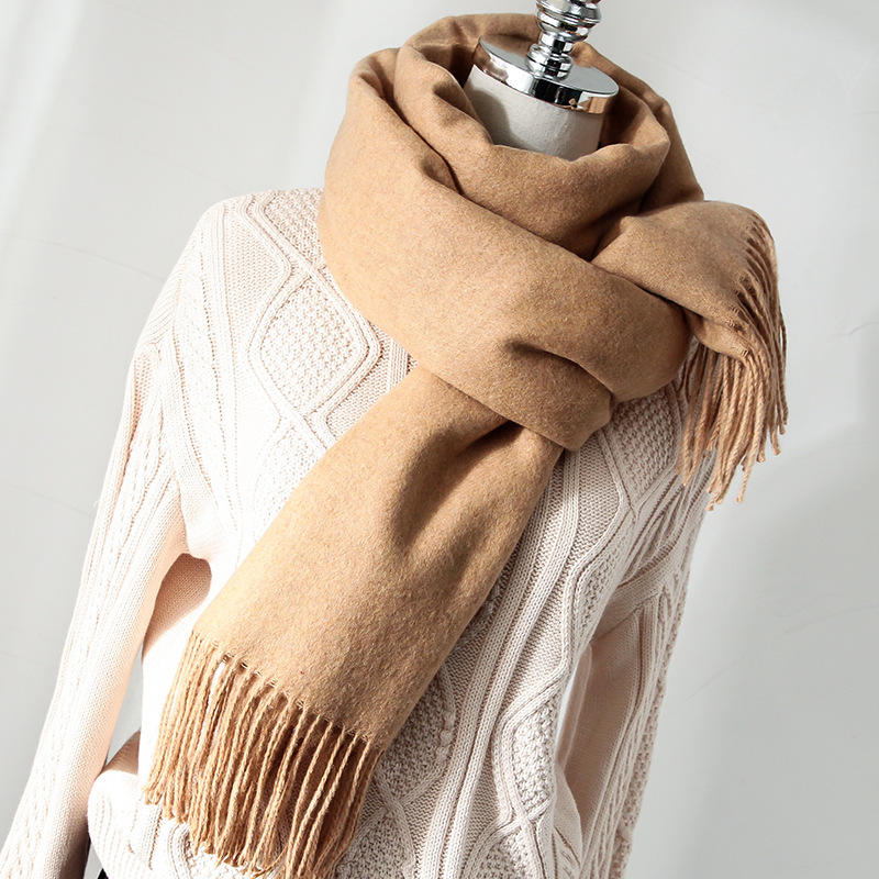 Wholesale Custom Knit Wool Tassel Infinity Winter Woman Pashmina 100% Cashmere Scarf