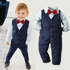 New Arrival Gentleman Long Sleeve 4pcs A Set Children Clothing Baby Boys Sets 20A395