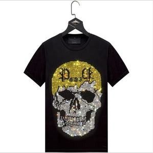 custom fashionable skull graphic rhinestone collar t shirt wholesale for men