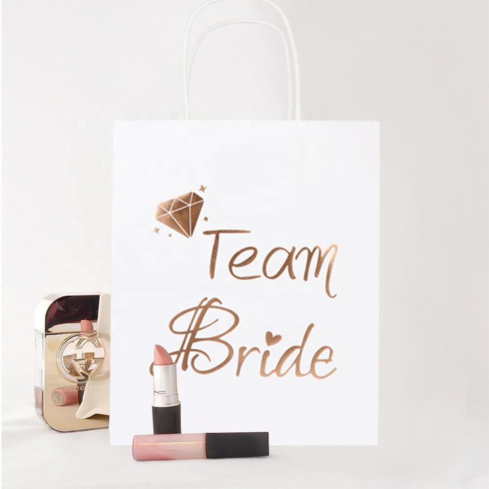 OurWarm Wedding Party Favors 2 Pcs Kraft Paper Gift Bags With Handle Packages Bags For Bridesmaid Groom Wedding Souvenir
