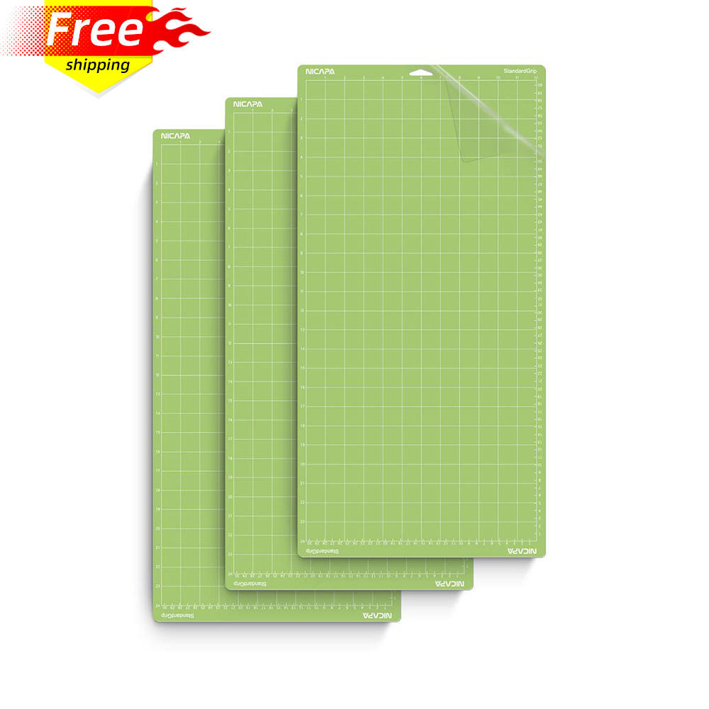 Nicapa Cutting Mat for Cricut Explore Air/Air 2/Maker (Standardgrip,12x24,3pack) Adhesive Sticky Green Craft Accessories Mats