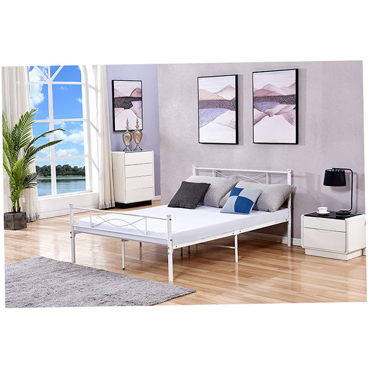 Popular Metal Bed Frames Elegant Stylish Beds White Frame Queen King Base Double Hotel Daybed Steel Iron Welding Twin