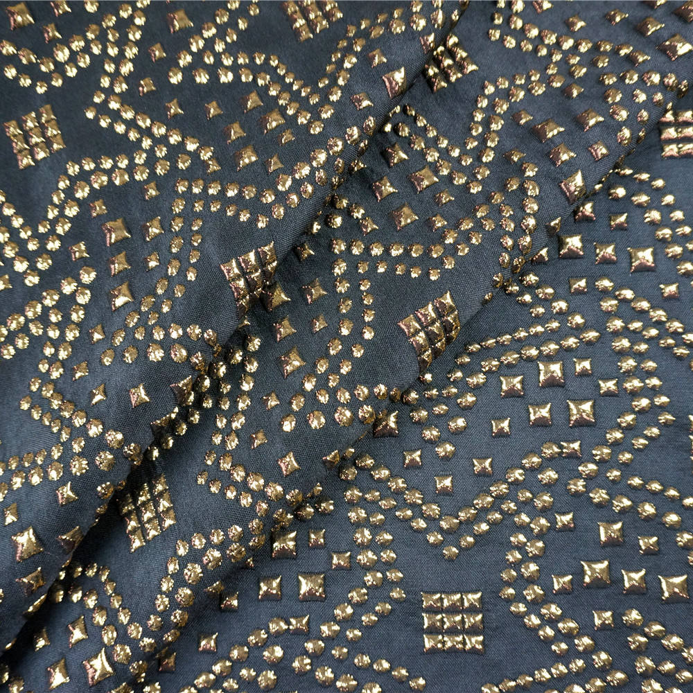 yardage stock rivets 3D spandex stretch metallic lurex jacquard woven fabric for coat dress