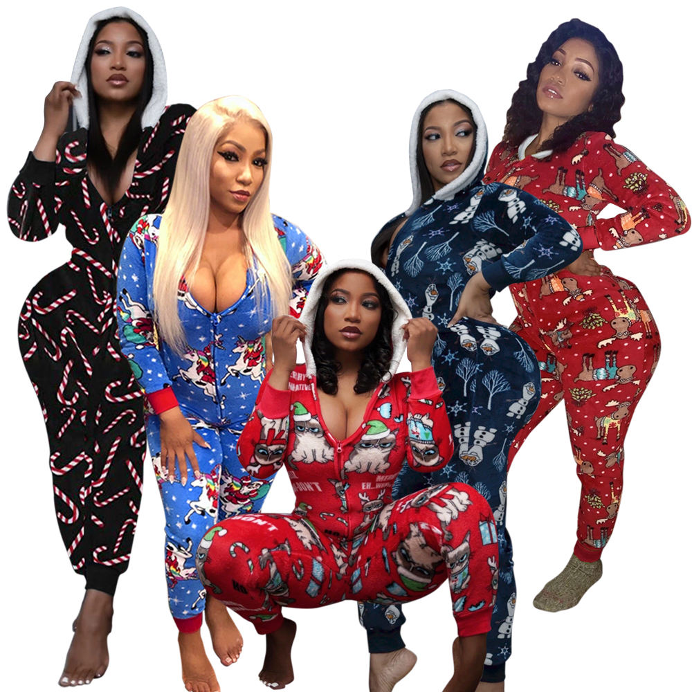 Drop shipping CHRISTMAS PAJAMAS onesie One piece pajamas women