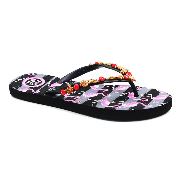 New Type Durable High Quality PE Slippers Flip Flops For Women And Ladies with Beads on strap