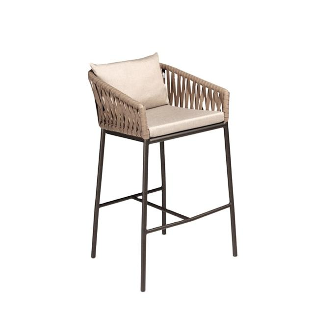 Modern rope woven restaurant tables and chairs high bar stool
