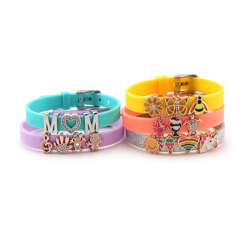 Personalized kids jewelry 8mm mixed color DIY slider beads silicone bracelets