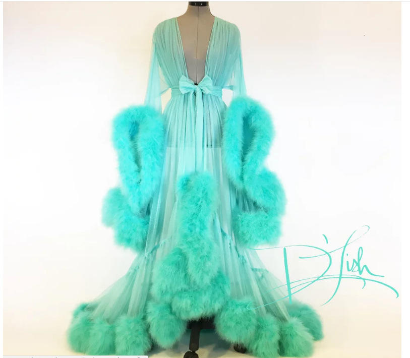 Fashion fur robe Perspective Sheer Mesh Ladies Sexy transparent Fur Robes Long Nightgown Hot Sexy Lingerie Robe show With Fur