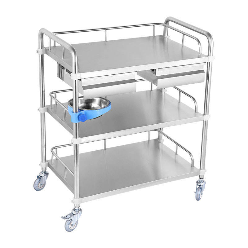 Stainless Steel Wheel Trolley with Drawers medical cart customized used medication carts