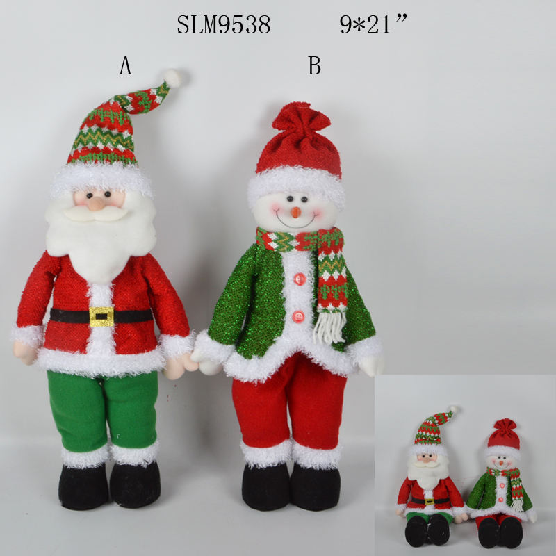 2019 new design two postures plush standing santa stuffed sitting snowman doll with flexible legs for holiday decoration