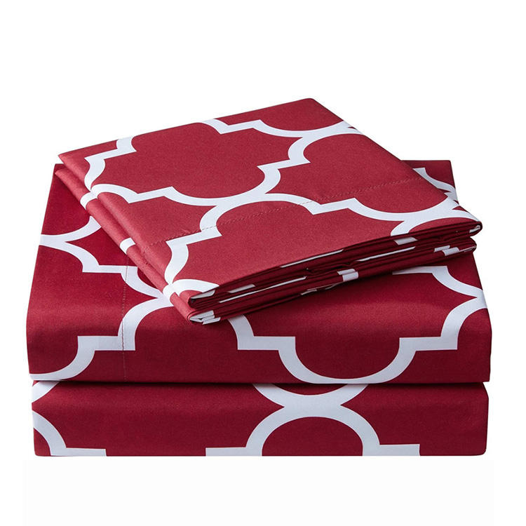 Modern king size home summer luxury microfiber material geometric red bed sheet set