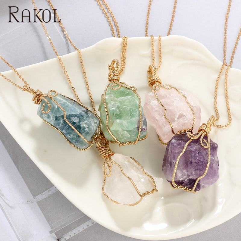RAKOL NN010 New 2020 Fashion Natural Stone Link Cable Chain Rock Gold Plated Rose Quartz Necklace