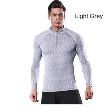 Rokao Design Sports Outdoor Mens Quick Dry Running Long Sleeve Slim Fit T Shirt Gym Training Bike Cycling With Zipper