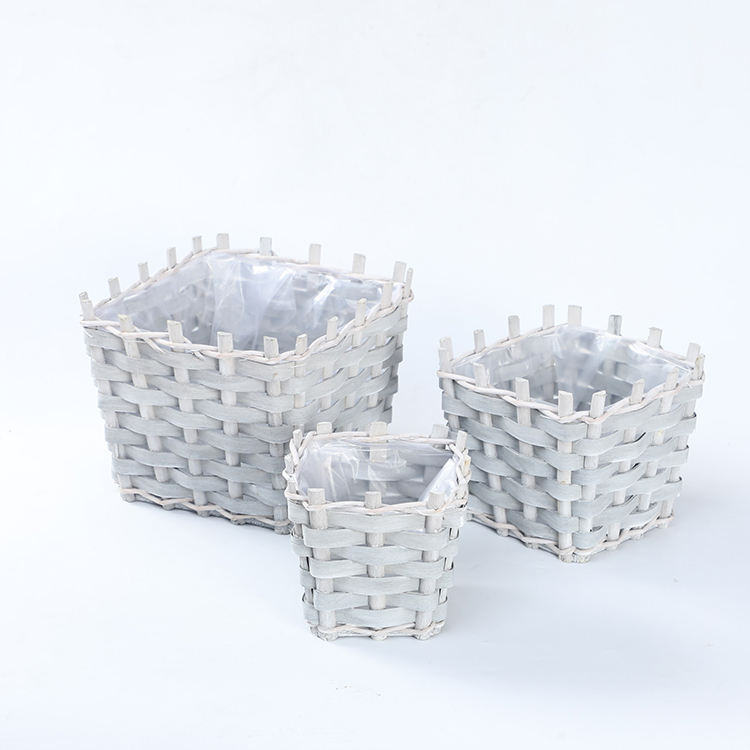 Hot selling handmade grey square wood chip flower pot willow woven flowerpot garden pots with plastic liner set of 3 customized