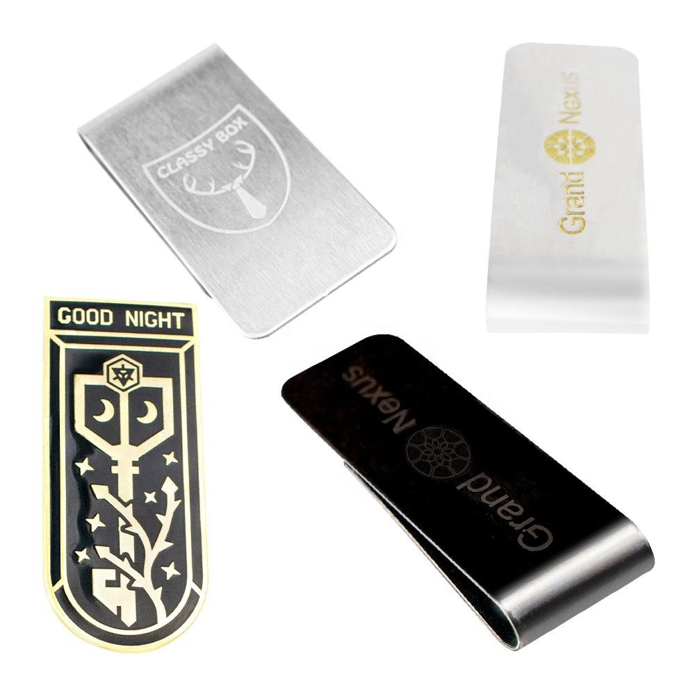 Custom blank stainless steel metal carbon fiber money clip/metal folding money clip/cheap Money Clip With Logo