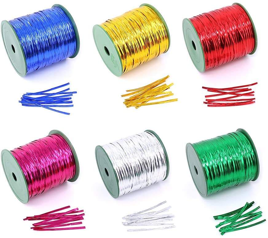 500Yards Metallic Twist Krawatten für Brot Candy Bag Partys dekorative Krawatten